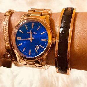 Michael Kors Rose Gold  & Black Hinged Bracelet